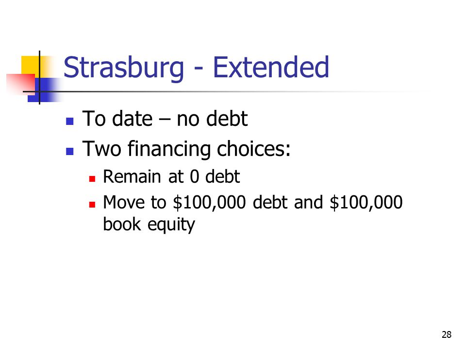 Strasburg - Extended To date – no debt Two financing choices: