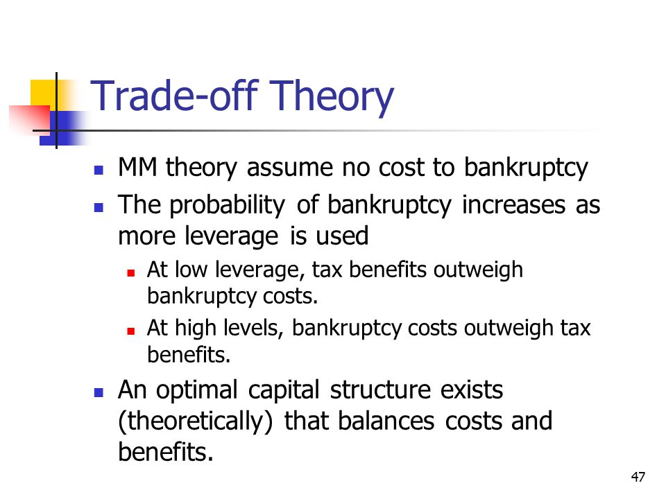 Trade-off Theory MM theory assume no cost to bankruptcy