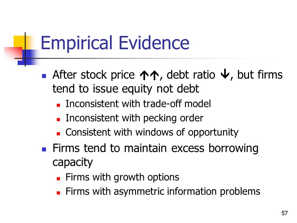 Empirical Evidence After stock price , debt ratio , but firms tend to issue equity not debt. Inconsistent with trade-off model.
