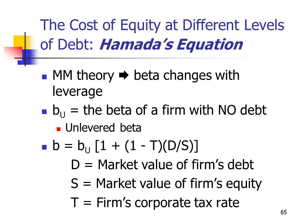 The Cost of Equity at Different Levels of Debt: Hamada's Equation