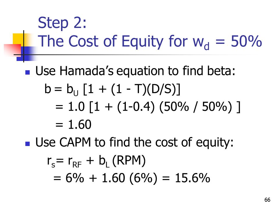 Step 2: The Cost of Equity for wd = 50%