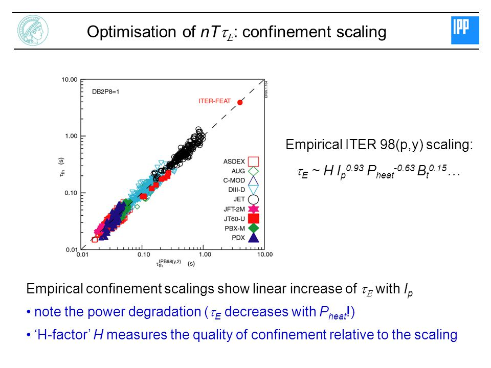 Optimisation of nTtE: confinement scaling