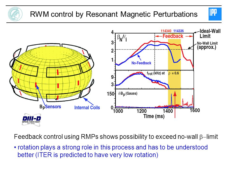 RWM control by Resonant Magnetic Perturbations