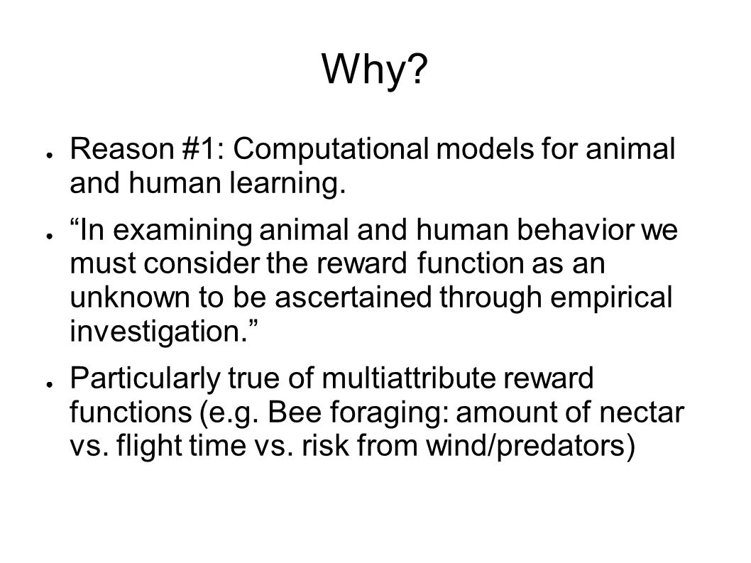 Why Reason #1: Computational models for animal and human learning.