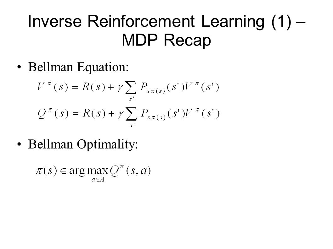 Inverse Reinforcement Learning (1) – MDP Recap