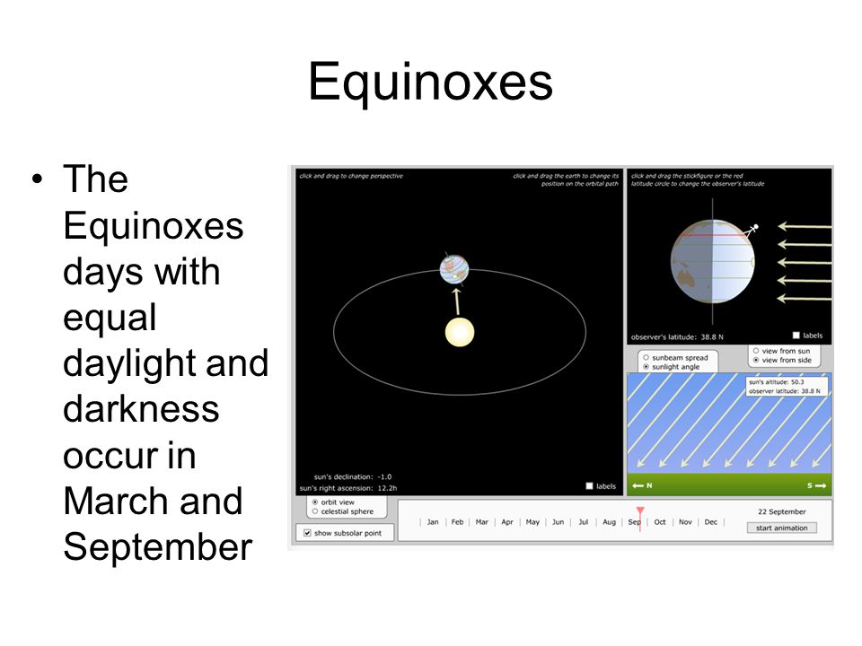 Equinoxes The Equinoxes days with equal daylight and darkness occur in March and September