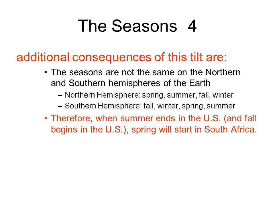 The Seasons 4 additional consequences of this tilt are: