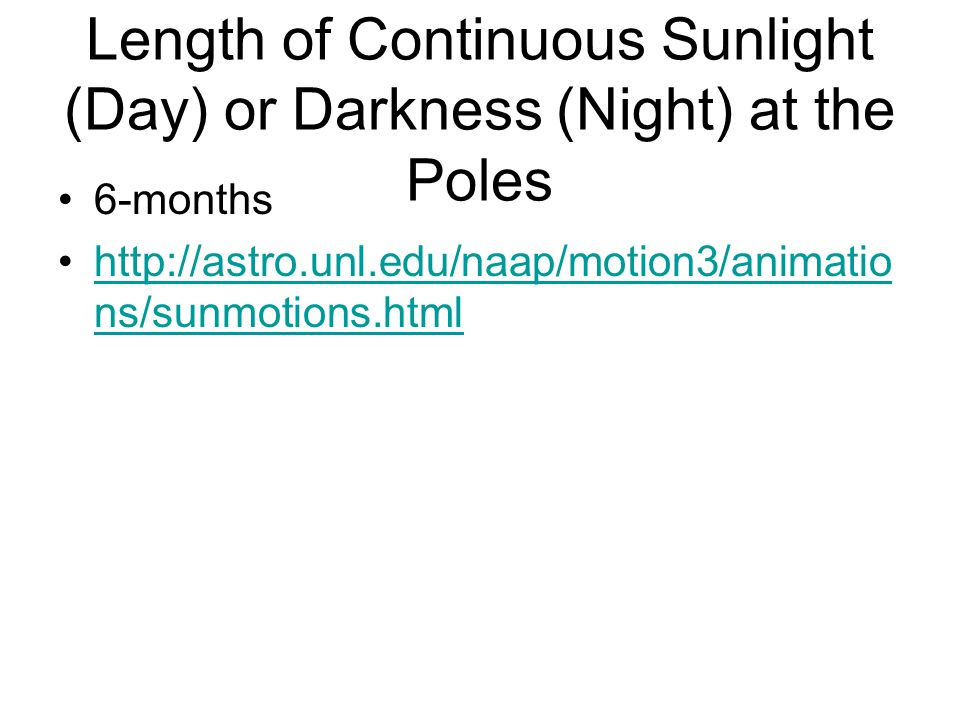 Length of Continuous Sunlight (Day) or Darkness (Night) at the Poles