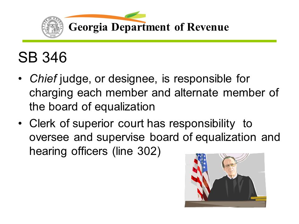 SB 346 Chief judge, or designee, is responsible for charging each member and alternate member of the board of equalization.