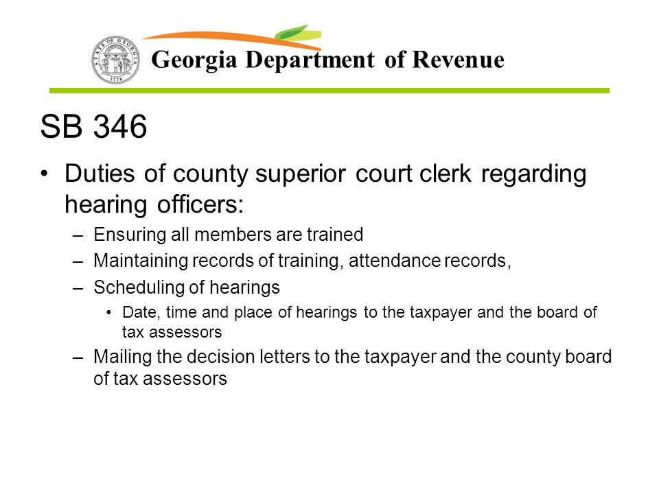 SB 346 Duties of county superior court clerk regarding hearing officers: Ensuring all members are trained.