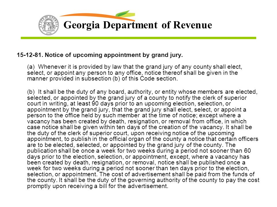 15-12-81. Notice of upcoming appointment by grand jury