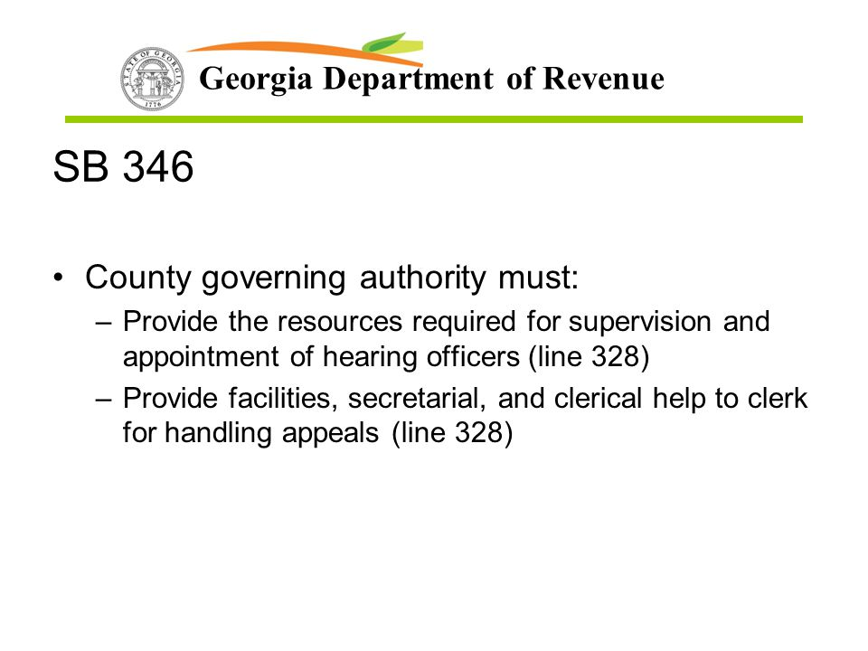SB 346 County governing authority must:
