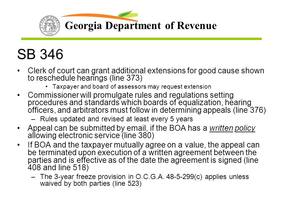 SB 346 Clerk of court can grant additional extensions for good cause shown to reschedule hearings (line 373)