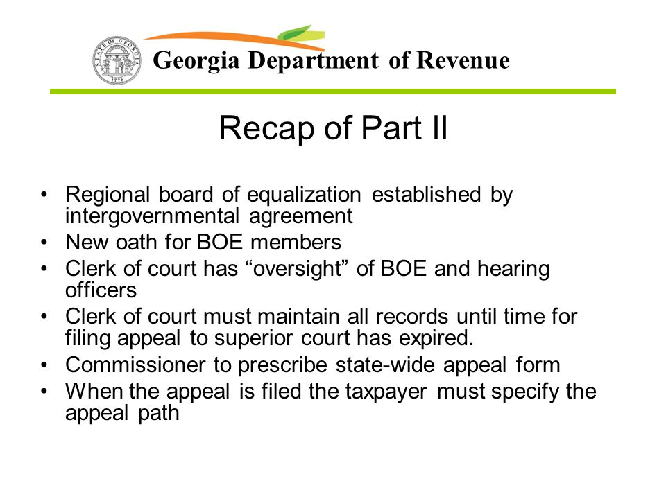 Recap of Part II Regional board of equalization established by intergovernmental agreement. New oath for BOE members.