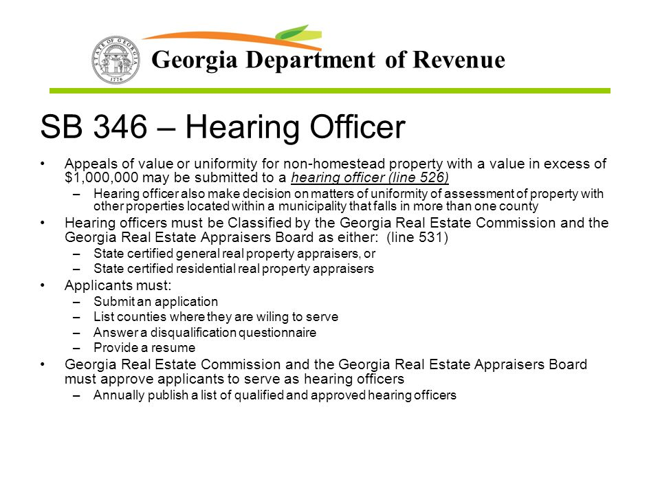 SB 346 – Hearing Officer