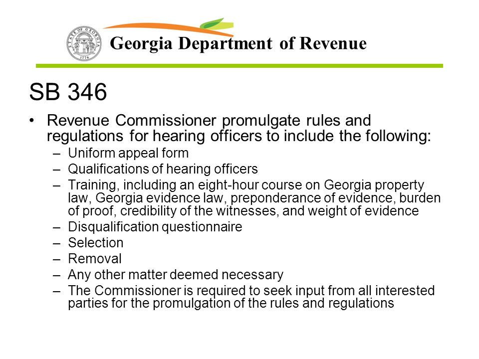 SB 346 Revenue Commissioner promulgate rules and regulations for hearing officers to include the following: