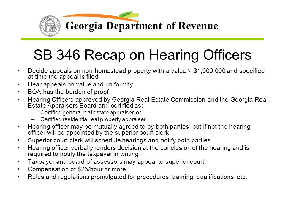 SB 346 Recap on Hearing Officers