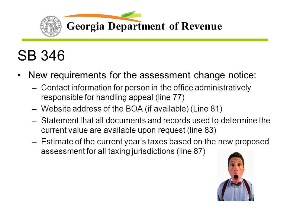 SB 346 New requirements for the assessment change notice: