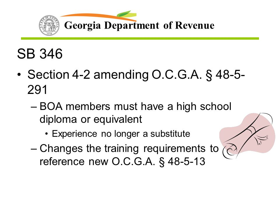 SB 346 Section 4-2 amending O.C.G.A. § 48-5-291
