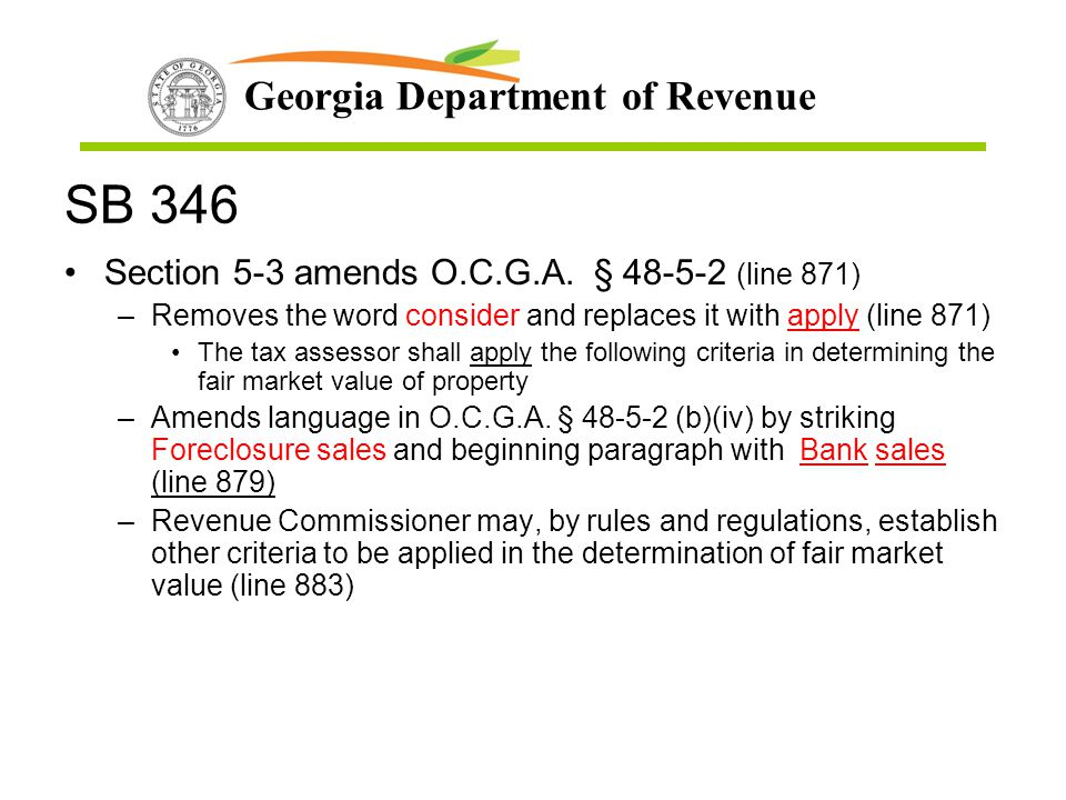 SB 346 Section 5-3 amends O.C.G.A. § 48-5-2 (line 871)
