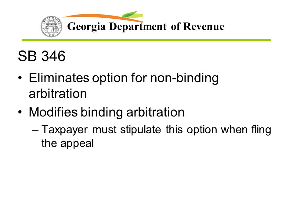 SB 346 Eliminates option for non-binding arbitration