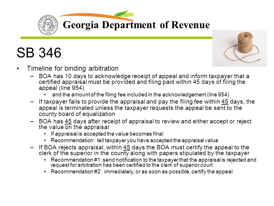 SB 346 Timeline for binding arbitration