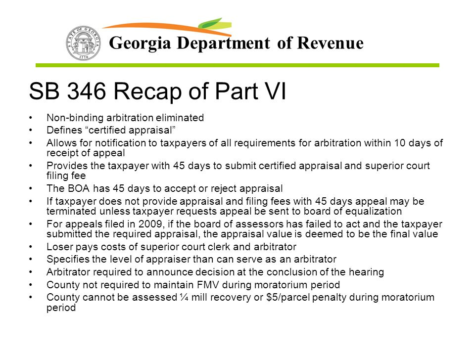 SB 346 Recap of Part VI Non-binding arbitration eliminated