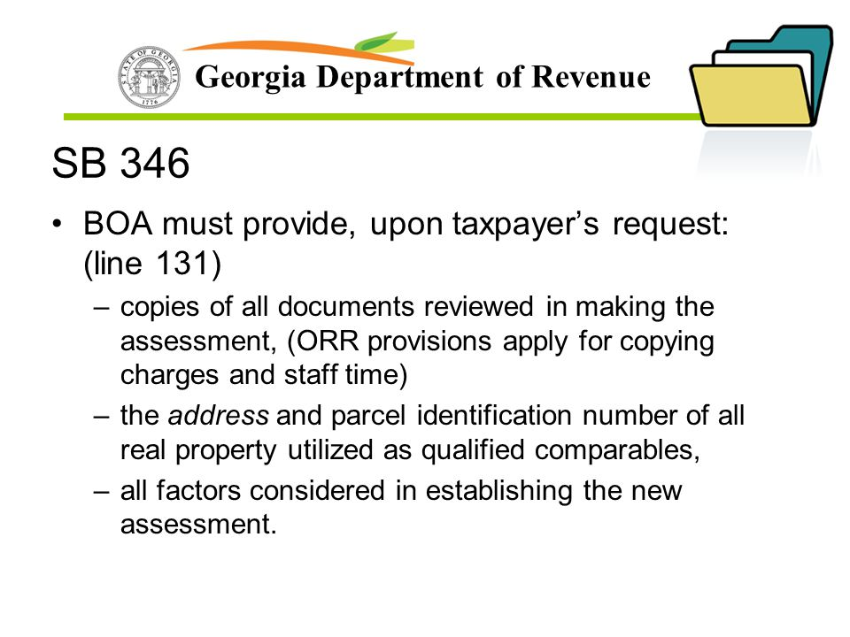 SB 346 BOA must provide, upon taxpayer's request: (line 131)