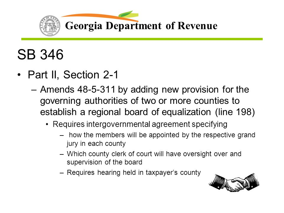 SB 346 Part II, Section 2-1.