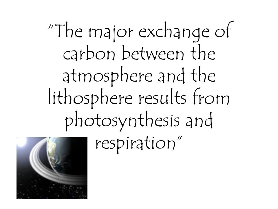 The major exchange of carbon between the atmosphere and the lithosphere results from photosynthesis and respiration