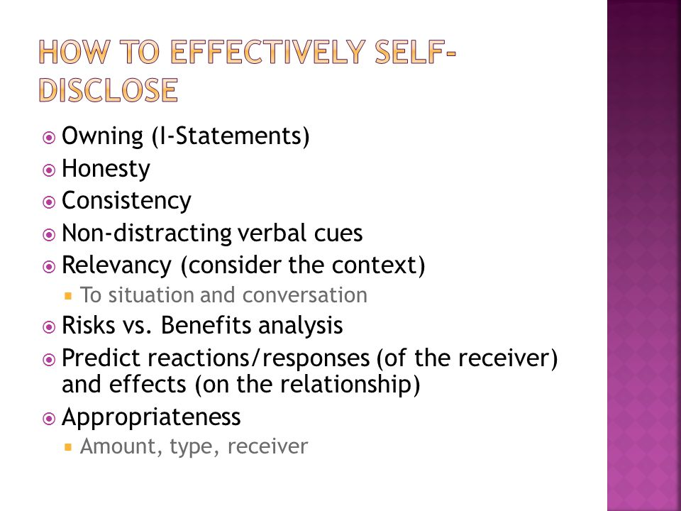 How to effectively self-disclose