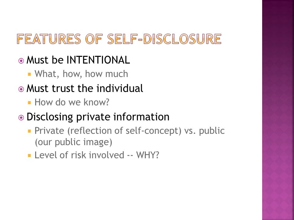 Features of self-disclosure