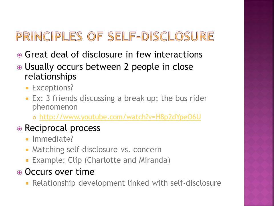 Principles of self-disclosure