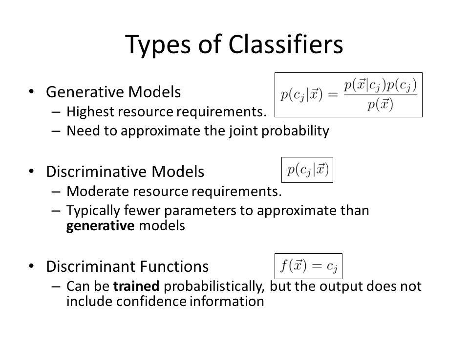 Types of Classifiers Generative Models Discriminative Models