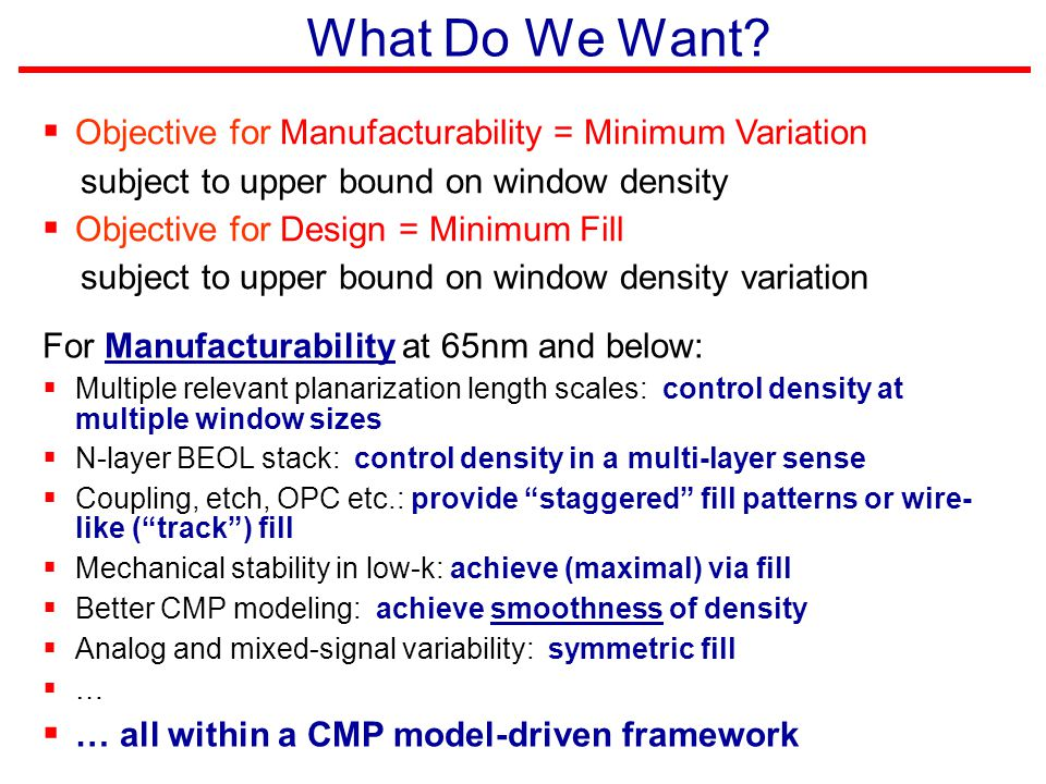 What Do We Want Objective for Manufacturability = Minimum Variation