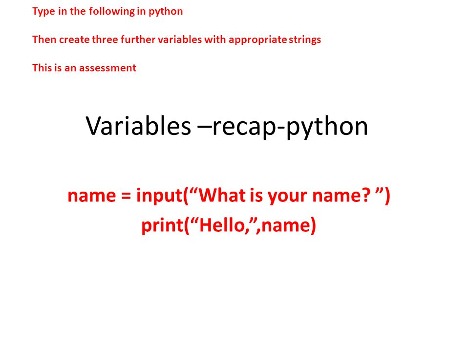 Variables –recap-python
