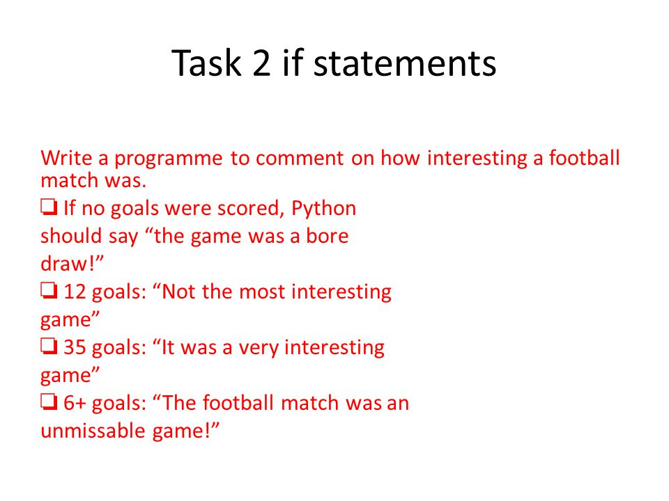 Task 2 if statements