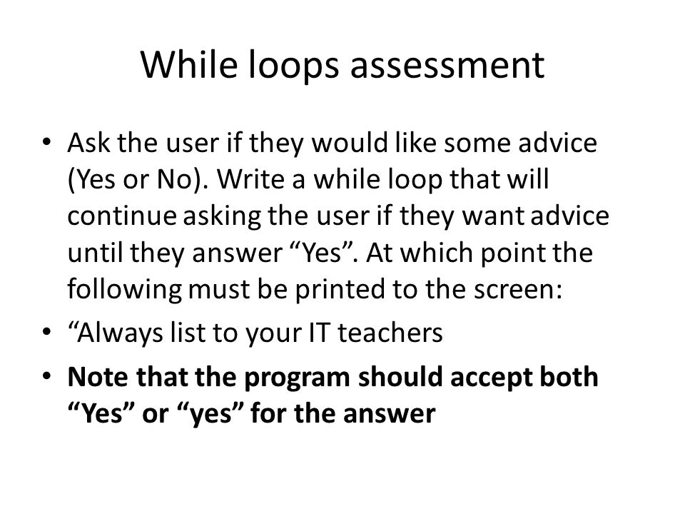 While loops assessment