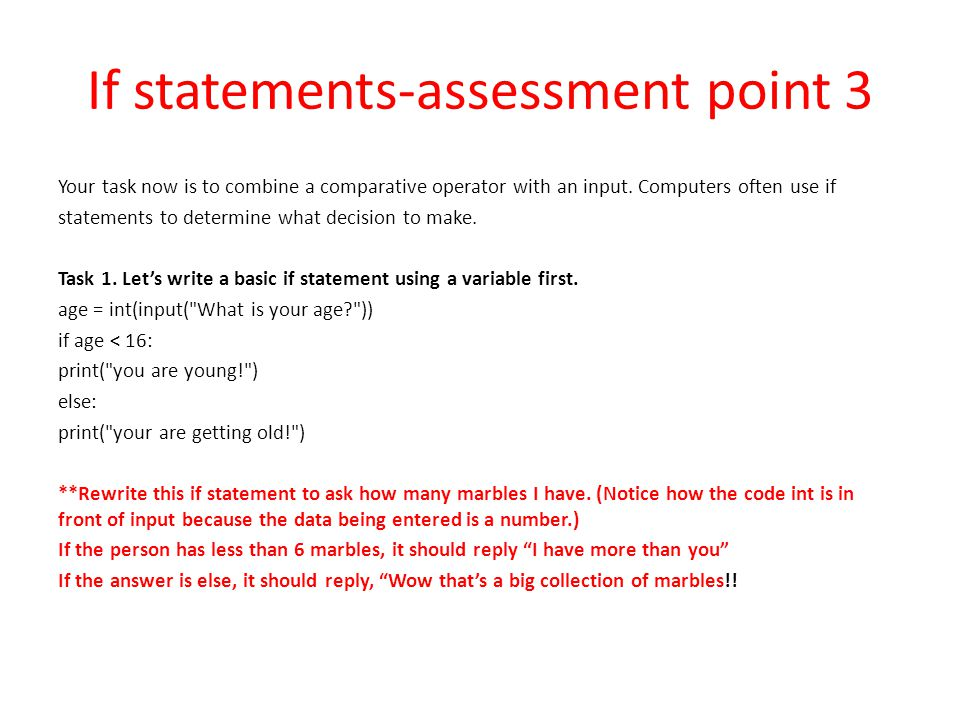 If statements-assessment point 3