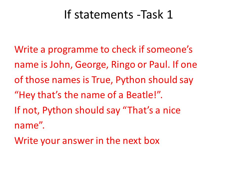 If statements -Task 1