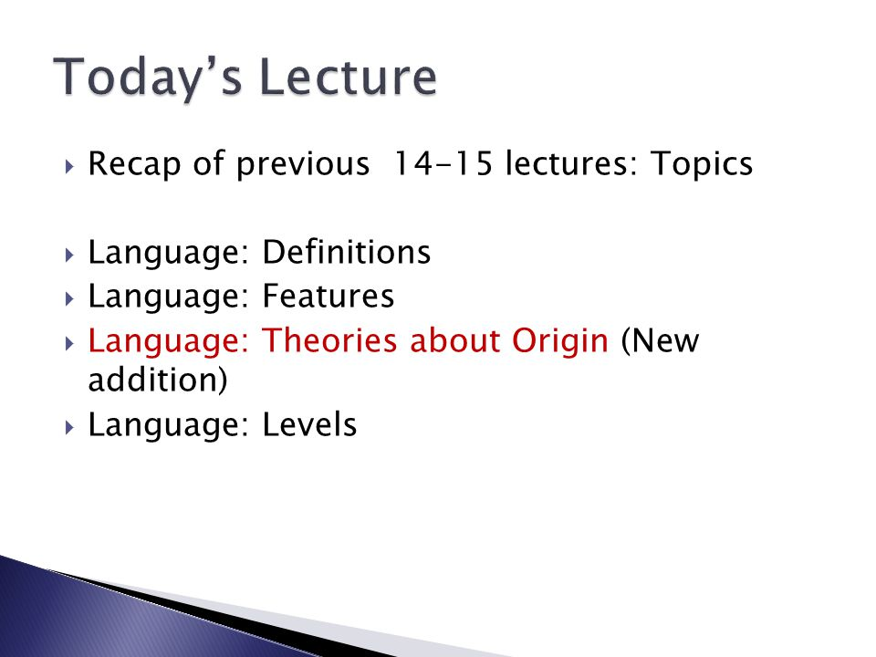 Today's Lecture Recap of previous 14-15 lectures: Topics