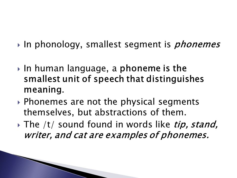 In phonology, smallest segment is phonemes