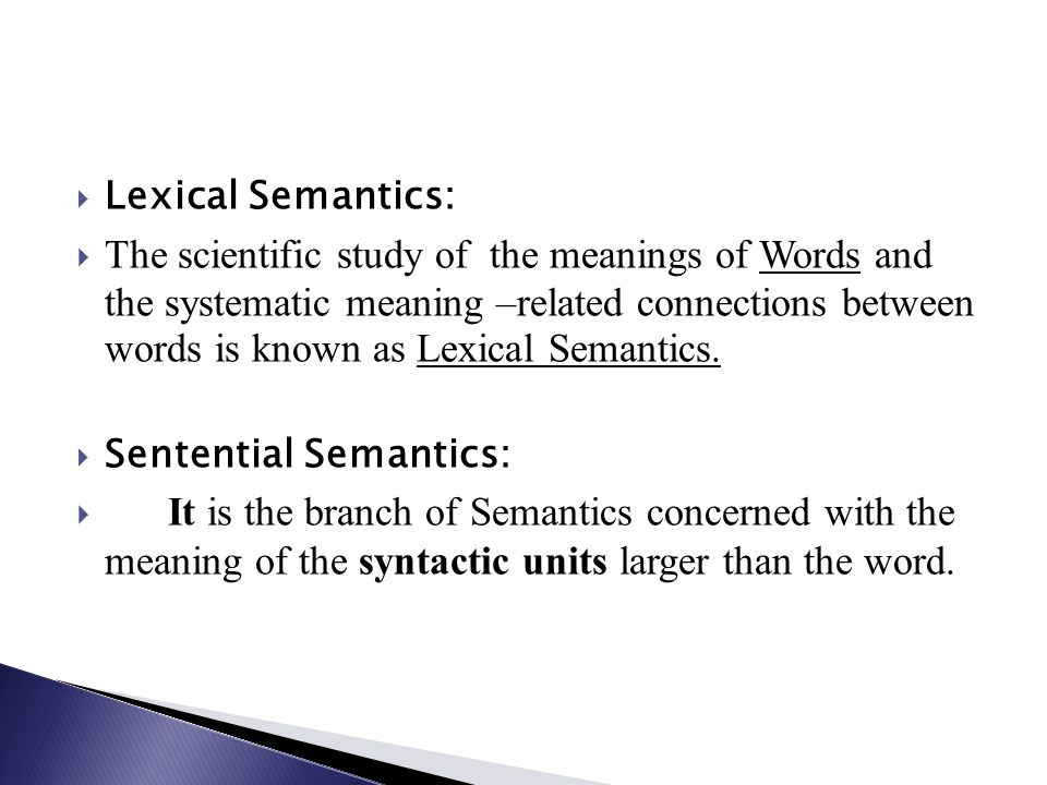 Lexical Semantics: