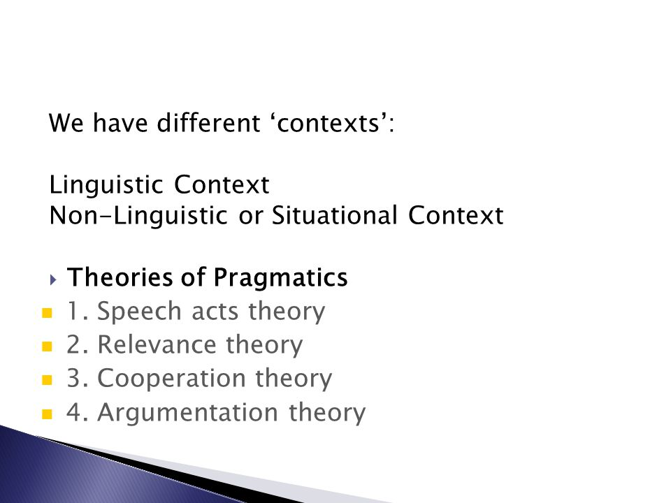 We have different 'contexts':