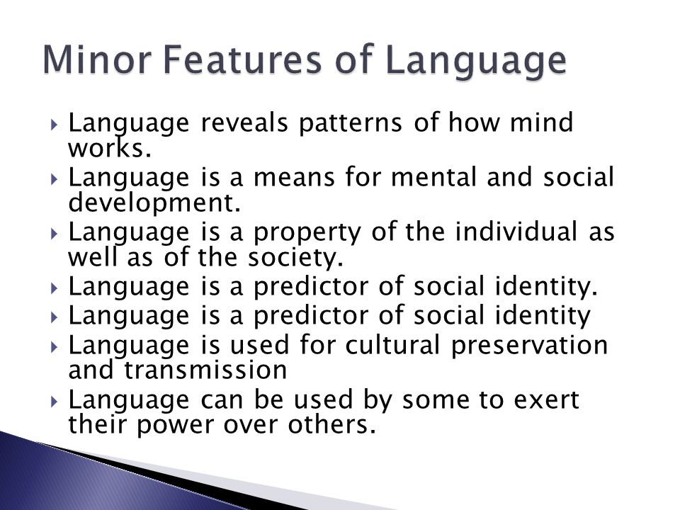 Minor Features of Language