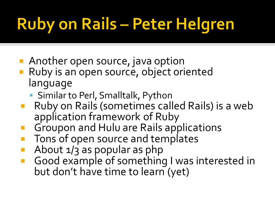 Ruby on Rails – Peter Helgren