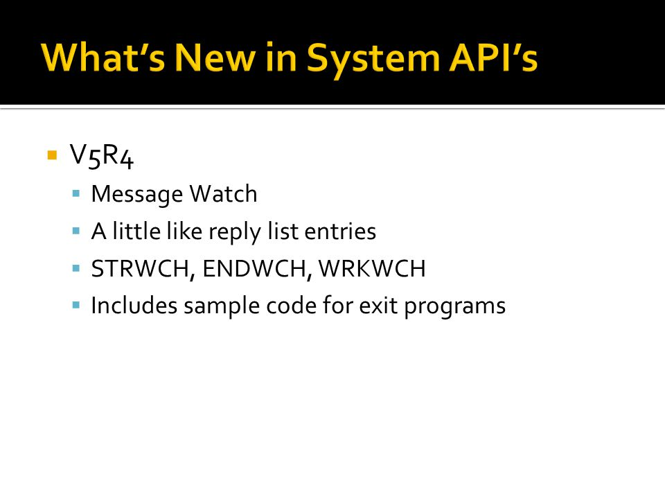 What's New in System API's
