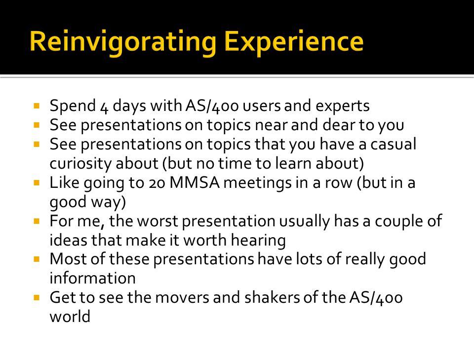 Reinvigorating Experience