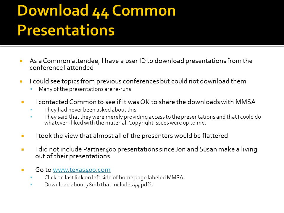 Download 44 Common Presentations