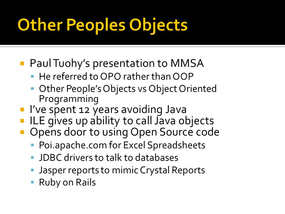 Other Peoples Objects Paul Tuohy's presentation to MMSA